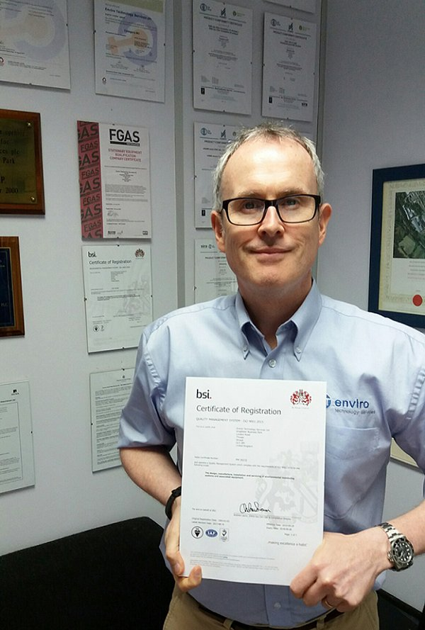 New BSI ISO 9001:2015 Certification for Enviro Technology