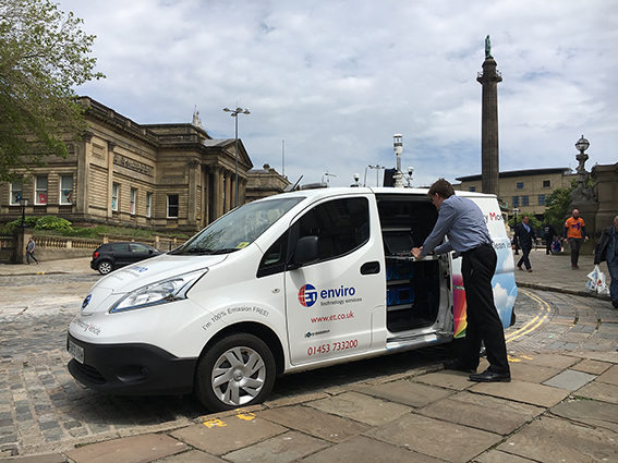 The Smogmobile measures air quality for Liverpool City Council on Clean Air Day